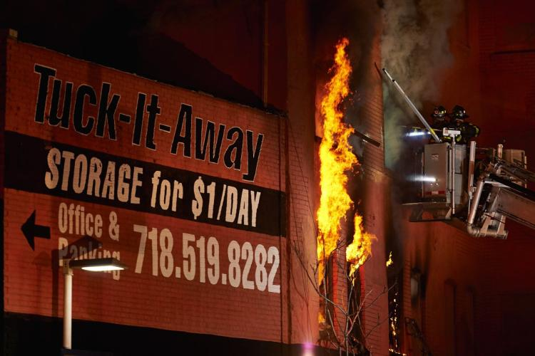 Fire in storage area